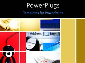 PowerPlugs: PowerPoint template with different tiles with a mouse a computer screen and a phone