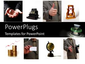 PowerPlugs: PowerPoint template with different tiles showing business elements and an earth globe