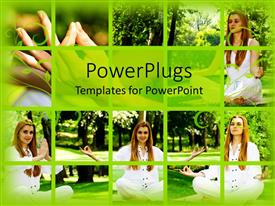 PowerPlugs: PowerPoint template with different tiles showing different angles of a lady doing yoga