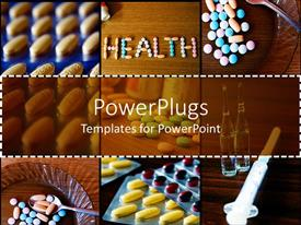 PowerPoint template displaying different tiles showing different medical pills and a syringe