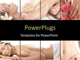 PowerPlugs: PowerPoint template with different tiles showing two ladies getting massages and manicure