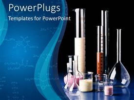 PowerPlugs: PowerPoint template with different types of chemistry physics lab apparatus with dark blue background
