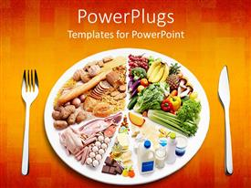PowerPlugs: PowerPoint template with different types of food in a plate with a fork and knife on the side