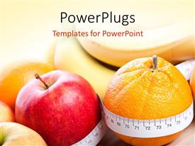 PowerPlugs: PowerPoint template with different types of fruits with a measuring tape around them