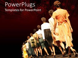 PowerPlugs: PowerPoint template with different women with high heels walking on the ramp