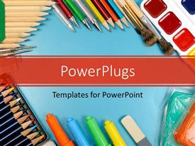 PowerPlugs: PowerPoint template with different writing materials and tools on a blue surface