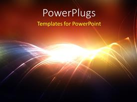 PowerPlugs: PowerPoint template with digital abstract background with rays