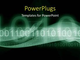 PowerPlugs: PowerPoint template with digital abstract binary colorful waves with black color