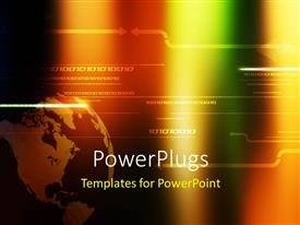 PowerPlugs: PowerPoint template with digital background with binary numbers and earth globe