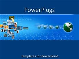 PowerPlugs: PowerPoint template with digital background with business related collage and globe on blue background
