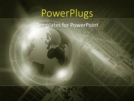PowerPlugs: PowerPoint template with digital background with glowing earth globe over green theme