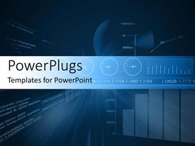 PowerPlugs: PowerPoint template with digital background with multiple financial charts on blue surface