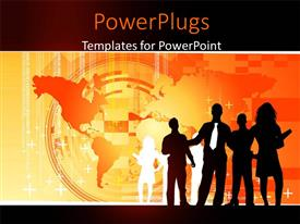 PowerPlugs: PowerPoint template with digital business depiction with businessmen on world map with binary codes