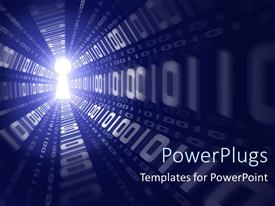 PowerPlugs: PowerPoint template with digital depiction of binary data running through a light keyhole