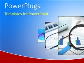 PowerPlugs: PowerPoint template with digital depiction of business documents with magnifying glass on charts