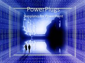PowerPlugs: PowerPoint template with digital depiction with chess pieces at war and binary numbers