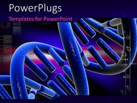Audience pleasing slide deck with digital depiction with close-up of DNA strand colored blue