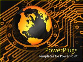 PowerPoint template displaying digital depiction with earth globe sitting on circuit lines