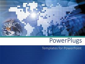 PowerPlugs: PowerPoint template with the digital depiction of the Earth with lines in the background