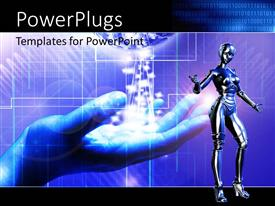 PowerPoint template displaying digital depiction with globe in human hand and chrome humanoid