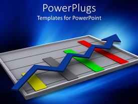 PowerPlugs: PowerPoint template with digital depiction of graphic chart with colored bars and blue arrow