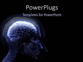 PowerPlugs: PowerPoint template with digital depiction of human anatomy and human brain on black background