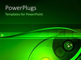 PowerPlugs: PowerPoint template with digital depiction with lenses and film strip on green background