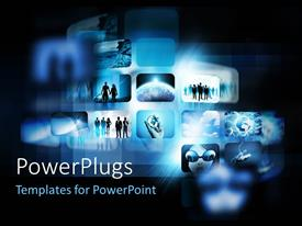 PowerPlugs: PowerPoint template with digital depiction with screens showing blue sky and people