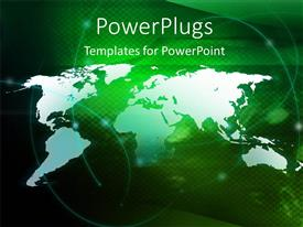 PowerPoint template displaying digital depiction with swirls over world map in green background