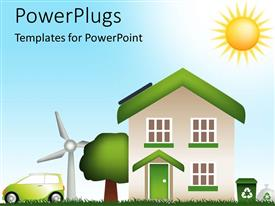 PowerPlugs: PowerPoint template with digital design of a house with tree, green car, windmill and recycling bin and bag with glowing sun on bright sky representing eco friendly lifestyle house, living ecologically, green life