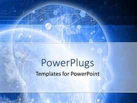 PowerPlugs: PowerPoint template with digital design technology space humanity and technology blue space background