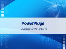 PowerPoint template displaying digital display and writings on blue background