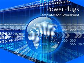 PowerPlugs: PowerPoint template with a digital globe with digital background
