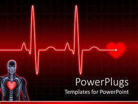 PowerPoint template displaying digital human body with heard and electrocardiogram on the middle of a dark red background