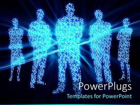 PowerPlugs: PowerPoint template with digital numbers glowing made in shape of people