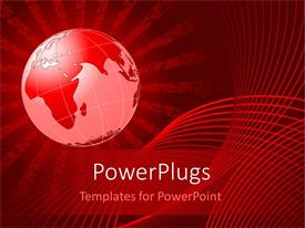 PowerPoint template displaying digital red glowing globe on red background, grunge background