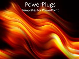 PowerPlugs: PowerPoint template with digital representation of fire flames with mixed yellow, orange and red colors over black background