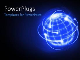PowerPlugs: PowerPoint template with the digital representation of the globe with bluish background