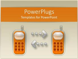 PowerPoint template displaying digital representation of two classic keyboard cell phones with arrows from a phone to another orange and silver