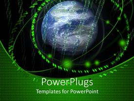 PowerPlugs: PowerPoint template with digital universe metaphor with letter 2 and binary around globe, Earth, world