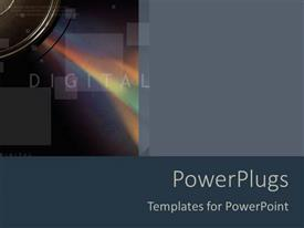 PowerPlugs: PowerPoint template with digital word with CD blocks and rainbow prism, gray and blue