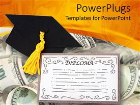 PowerPlugs: PowerPoint template with diploma with graduation cap over dollar bills