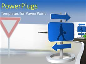 PowerPlugs: PowerPoint template with a road sign post with two blue arrows
