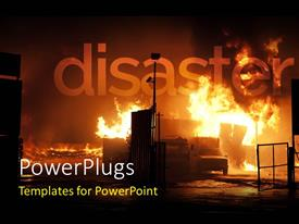 PowerPlugs: PowerPoint template with a disaster scene with fire blazing