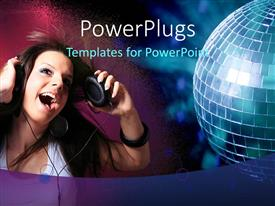 PowerPlugs: PowerPoint template with beautiful young lady with headphones listening to music