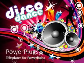 PowerPoint template displaying disco dance written in text with loud colorful background