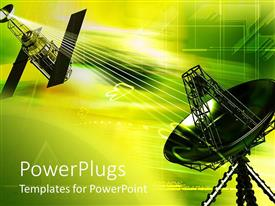 PowerPlugs: PowerPoint template with dish antenna satellite in green yellowish colors, abstract communication