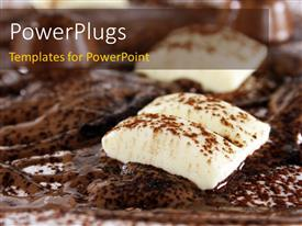 PowerPoint template displaying dish of chocolate with white chocolate over melted brown