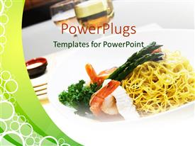 PowerPlugs: PowerPoint template with a dish of noodles with cups in the background
