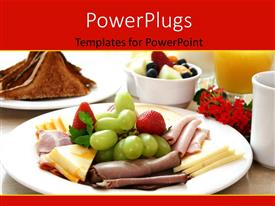 PowerPoint template displaying dish of roasted delhi beef and fruits with toasted bread
